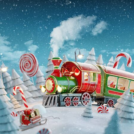 Amazing fairy Santas Christmas train in a magical forest with candy canes. Unusual Christmas 3d illustration postcard.