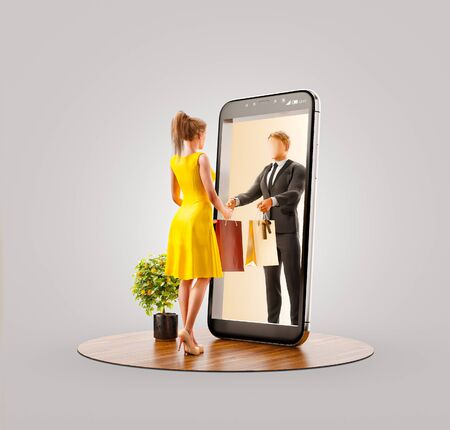 Unusual 3d illustration of a young man standing at big smartphone and using smart phone application. Smartphone apps concept.