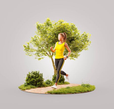 Unusual 3d illustration of a young woman jogging in a park. Jogging and running concept. Banque d'images