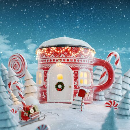 Amazing fairy house decorated at Christmas in shape of Christmas mug with Christmas lights in a magical forest with candy canes. Unusual Christmas 3d illustration postcard.
