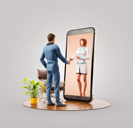 Unusual 3d illustration of a businessman standing in front of smartphone screen shaking hands with his doctor. Health care Smartphone apps. Online medical consultation and support concept.