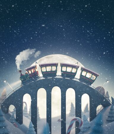 Amazing cute Santas christmas train goes by a brige in north pole. Unusual christmas 3d illustration Stock Photo