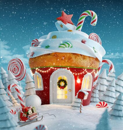 Amazing fairy Christmas house in shape of Christmas gingerbread muffin with sweets on top decorated of Christmas lights in a magical forest with candy canes. Unusual Christmas 3d illustration postcard. Zdjęcie Seryjne