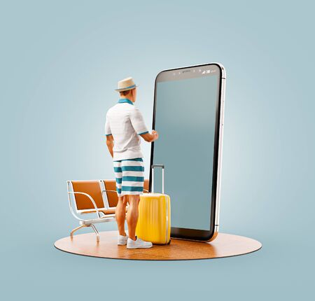 Unusual 3d illustration of a tourist with in straw hat with his luggage standing in front of smartphone and using smart phone application. Travel smartphone apps concept. Standard-Bild