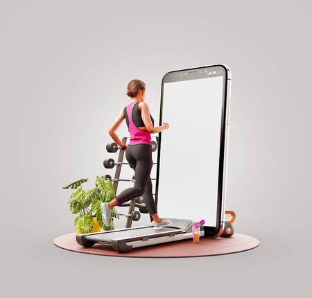 Unusual 3d illustration of a young woman in sportswear running on a treadmill in front of smartphone and using smart phone for exercises. Smartphone sports and gum apps concept. Zdjęcie Seryjne
