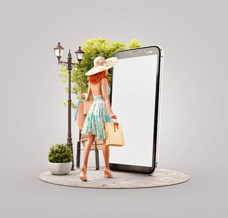 Unusual 3d illustration of a Happy woman with shopping bags going to big smartphone and using smart phone application. Smartphone apps concept. Consumerism and shopping.