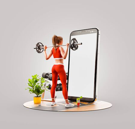 Unusual 3d illustration of a young woman in gym doing squats with barbell in front of smartphone and using smart phone for exercises. Smartphone sports and gum apps concept. Zdjęcie Seryjne