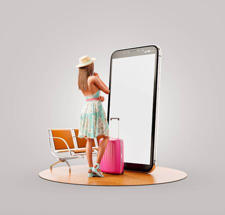 Unusual 3d illustration of a young woman in summer dress with travel suitcase standing in front of smartphone and using smart phone application. Smartphone travel apps concept. Zdjęcie Seryjne