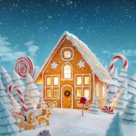 Erstaunliches feenhaftes Weihnachtslebkuchenhaus mit Weihnachtsbeleuchtung in einem magischen Wald mit Zuckerstangen. Ungewöhnliche Weihnachtspostkarte der Illustration 3d. Standard-Bild