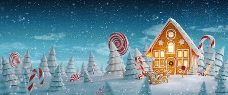 Amazing fairy Christmas gingerbread house decorated of Christmas lights in a magical forest with candy canes. Unusual Christmas 3d illustration postcard. Standard-Bild