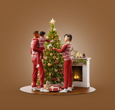 Unusual 3D illustration of happy family in pajamas decorating a beautiful Christmas tree at fireplace at home. Merry Christmas and Happy New Year concept.