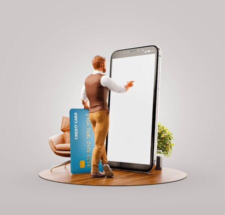 Unusual 3d illustration of a young man with credit card standing at big smartphone in office and using smart phone application for shopping an payment. Payment online concept.