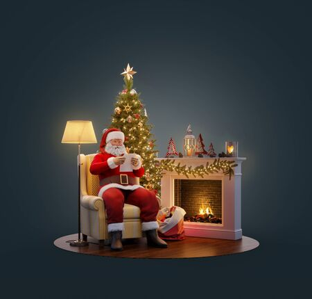 Unusual 3D illustration of Santa Claus sitting at Christmas tree at fireplace and reading christmas letter. Merry Christmas and Happy New Year concept.