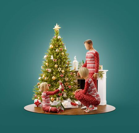 Unusual 3D illustration of happy family unwrapping gifts under Christmas tree at fireplace at home. Merry Christmas and Happy New Year concept.