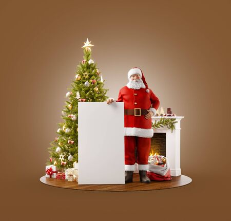 Unusual 3D illustration of Santa Claus standing near Christmas tree at fireplace and holding white empty board. Merry Christmas and Happy New Year concept. Zdjęcie Seryjne