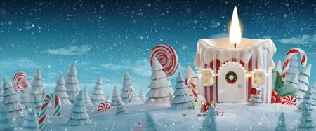 Amazing fairy house decorated at Christmas in shape of Christmas candle with Christmas lights in a magical forest with candy canes. Unusual Christmas 3d illustration postcard.