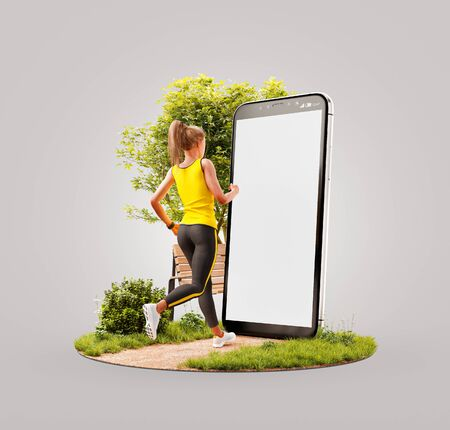Unusual 3d illustration of a young woman in sportswear running in park in front of smartphone and using smart phone for exercises. Smartphone sports and gum apps concept. Zdjęcie Seryjne