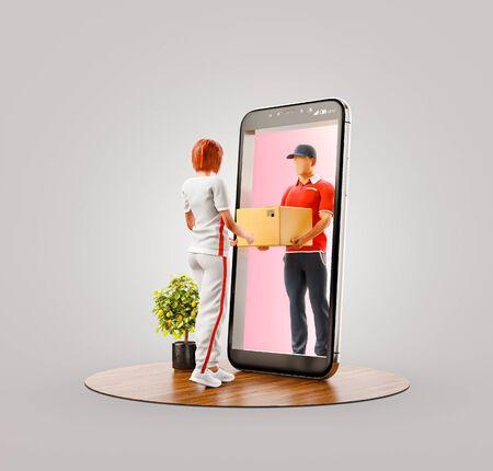 Ilustración 3d inusual de una mujer joven que recibe el paquete del mensajero del servicio de entrega a través de la pantalla del teléfono inteligente. Concepto de aplicaciones de envío y publicación.