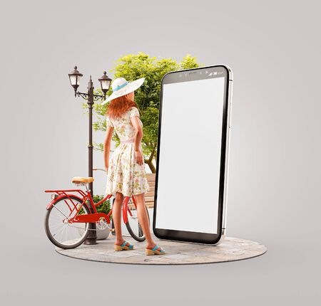 Unusual 3d illustration of a pretty woman in summer dress standing in front of smartphone and using smart phone application. Smartphone apps concept. Zdjęcie Seryjne