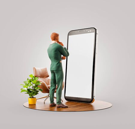 Unusual 3d illustration of a businessman in suit standing in fron of smartphone and using smart phone application. Smartphone apps concept.