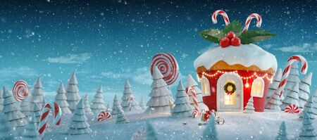 Amazing fairy Christmas house in shape of Christmas gingerbread muffin with sweets and holly on top decorated of Christmas lights in a magical forest with candy canes. Unusual Christmas 3d illustration postcard.