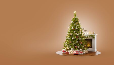 Unusual 3D illustration of a beautiful decorated Christmas tree at fireplace at home. Merry Christmas and Happy New Year concept.
