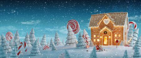Erstaunliches feenhaftes Weihnachtslebkuchenhaus mit Weihnachtsbeleuchtung in einem magischen Wald mit Zuckerstangen. Ungewöhnliche Weihnachtspostkarte der Illustration 3d.