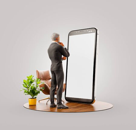 Unusual 3d illustration of a businessman in black suit standing at big smartphone and using smart phone application. Smartphone apps concept. Zdjęcie Seryjne
