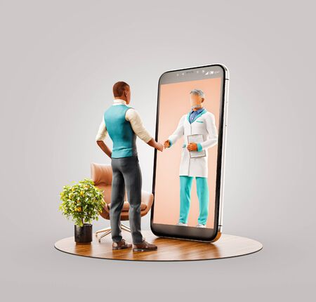 Unusual 3d illustration of a man standing in front of smartphone screen shaking hands with his doctor. Health care Smartphone apps. Online medical consultation and support concept. Zdjęcie Seryjne