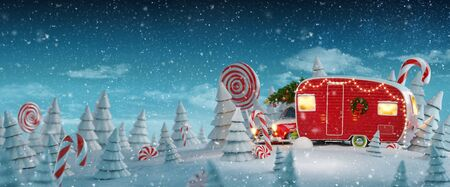 Unusual Christmas 3d illustration of decorated Santas Christmas red camper with Christmas lights in a magical forest with candy canes. Zdjęcie Seryjne