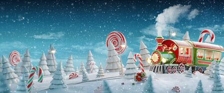 Amazing fairy Santa's Christmas train in a magical forest with candy canes. Unusual Christmas 3d illustration postcard. 스톡 콘텐츠