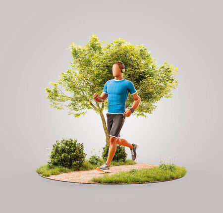 Ungewöhnliche 3D-Darstellung eines jungen Mannes, der in einem Park joggt. Joggen und Laufkonzept.