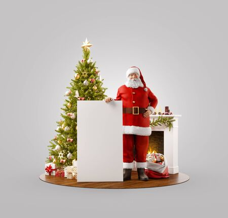 Unusual 3D illustration of Santa Claus standing near Christmas tree at fireplace and holding white empty board. Merry Christmas and Happy New Year concept. Stock fotó