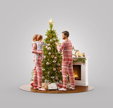 Unusual 3D illustration of happy family decorating a beautiful Christmas tree at fireplace at home. Merry Christmas and Happy New Year concept.