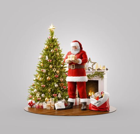 Unusual 3D illustration of Santa Claus puttign gift under Christmas tree at fireplace at home. Merry Christmas and Happy New Year concept. Zdjęcie Seryjne