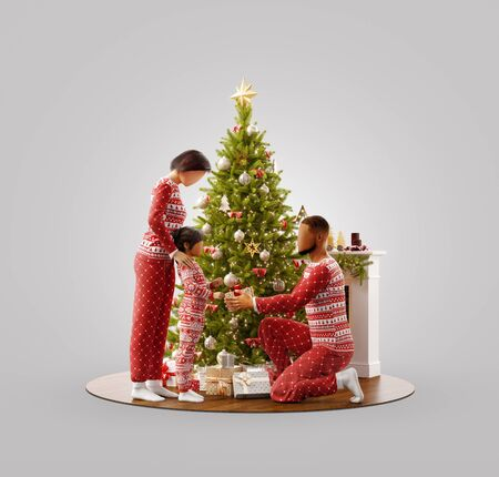 Unusual 3D illustration of happy family in pajamas near Christmas tree at fireplace at home. Father is giving a gift to his daughter. Merry Christmas and Happy New Year concept.