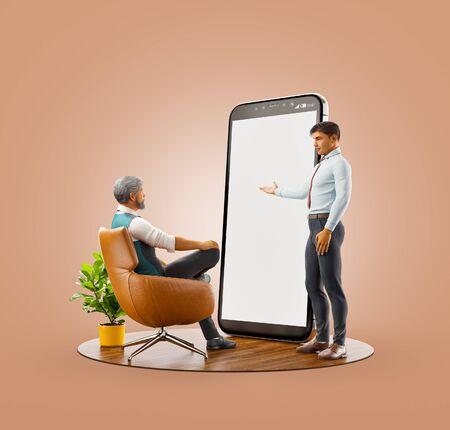 Ungewöhnliche 3D-Darstellung. Entwicklung und Präsentation von Smartphone-App-UI-Design. Anwendungs- und Social-Media-Konzept. Webentwicklung und Webdesign. Business-Teamwork-Konzept.