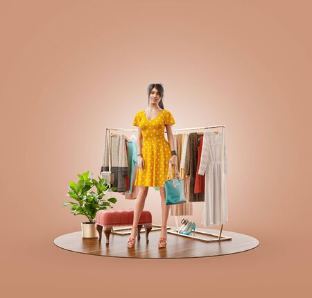 Unusual 3d illustration of a beauty woman in casual clothes standing in boutique. Cloth market. Online shopping concept.