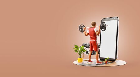3d illustration of a man in gym doing squats with barbell in front of smartphone and using smart phone for exercises. Smartphone sports and gum apps concept.