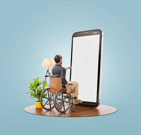 Young Disabled man is sitting in a wheelchair in front of smartphone with blank screen and using smart phone application. Disability concept 3d illustration.