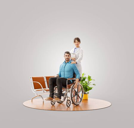 3d illustration of pretty young female doctor with her disabled patient in hospital.