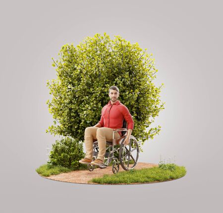 Unusual 3d illustration of a Disabled man sitting in wheelchair in park. Disabled people activity concept