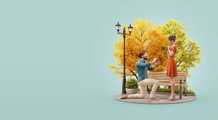 3d illustration of a Young man makes a proposal to get married. Romantic relationship and family concept. Valentines day