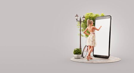 Pretty woman in summer dress standing in front of smartphone and touching smart phone screen. Smartphone apps concept. Unusual 3d illustration
