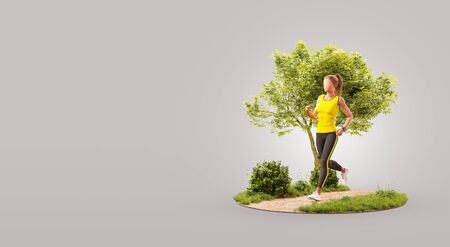 Young woman jogging in a park. Jogging and running concept. Unusual 3d illustration