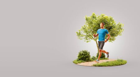 Young man jogging in a park. Jogging and running concept. Unusual 3d illustration