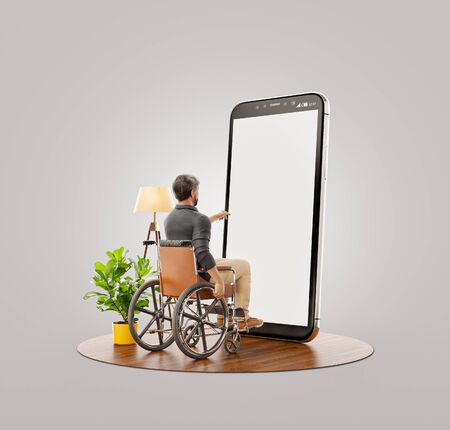 Young Disabled man sitting in a wheelchair in front of smartphone with blank screen and using smart phone application. Disability concept 3d illustration.