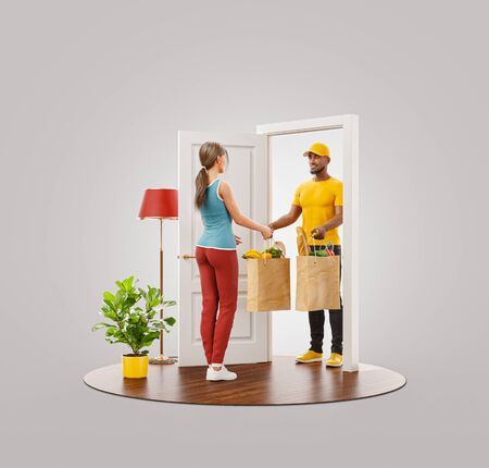 Unusual 3d illustration of a Young woman receiving bags with fresh food from courier at the door. Grocery delivery service. Online grocery shopping and delivery.