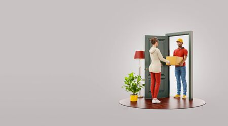 Unusual 3d illustration of a young woman receiving parcel from delivery service courier at the door. Delivery and post concept.