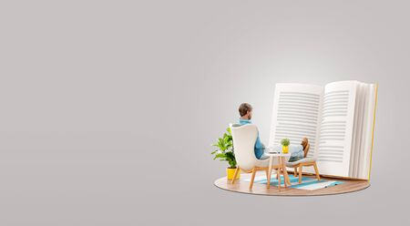 Unusual 3d illustration of a man reads a book sitting on an armchair at home.